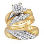 Gold-N-Diamonds 14kt Two-tone Gold His & Hers Round Diamond Cluster Matching Bridal Wedding Ring Band Set 1.00 Cttw