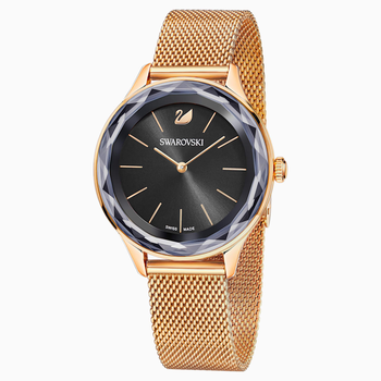 Octea Nova Watch, Milanese bracelet, Black, Rose-gold tone PVD