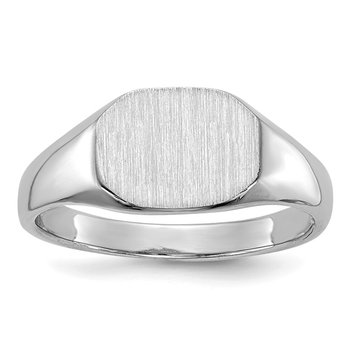 14k White Gold 8.0x6.5mm Open Back Child's Signet Ring