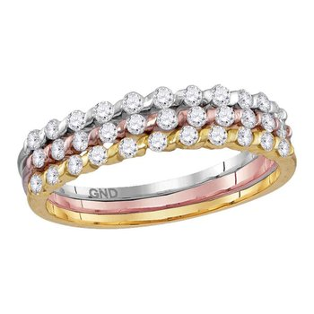 10kt Tri-tone Gold Womens Round Diamond Band Ring 1/2 Cttw