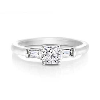 Ideal Square Diamond Solitaire with Side Stones