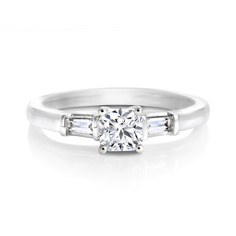 Canadian Rocks Ideal Square Diamond Solitaire with Side Stones