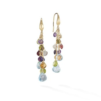 Paradise Collection 18K Yellow Gold Mixed Gemstone Multi Strand Earrings