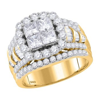 14kt Yellow Gold Womens Princess Diamond Cluster Bridal Wedding Engagement Ring 3.00 Cttw