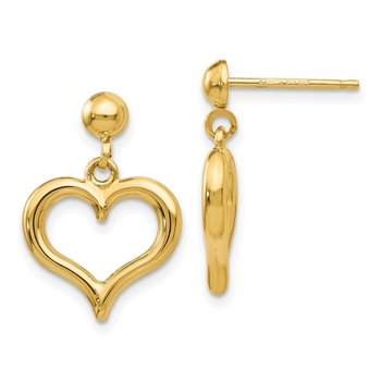 14K Gold Polished Heart Post Dangle Earrings