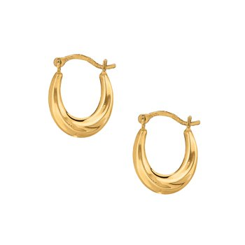 10K Gold Mini Oval Hoop Earring
