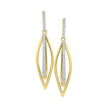 10kt Yellow Gold Womens Round Diamond Oblong Oval Stick Dangle Earrings 1/6 Cttw