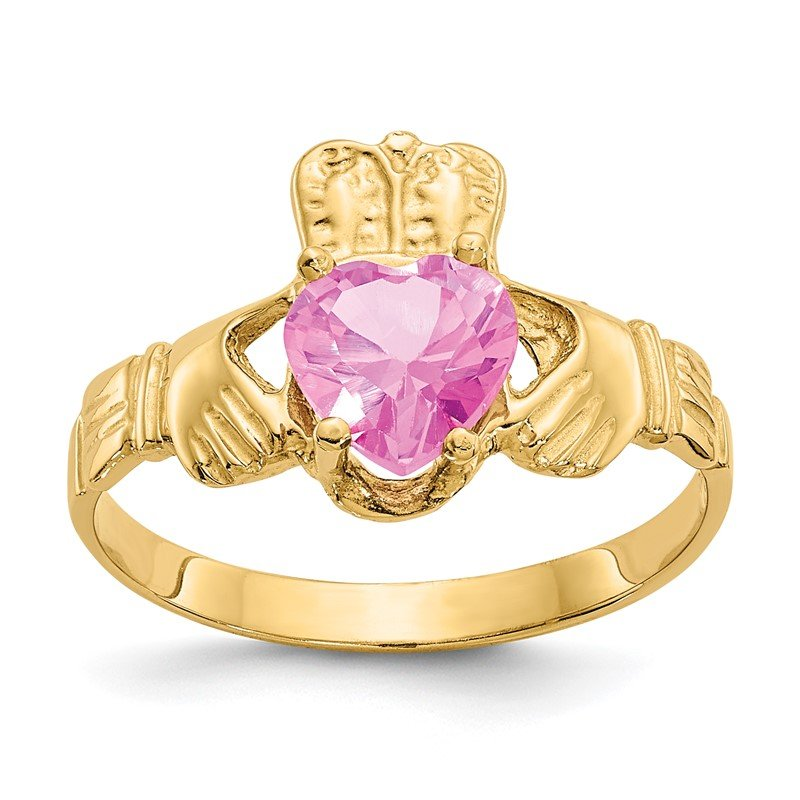 Quality Gold 14k October CZ Birthstone Claddagh Ring
