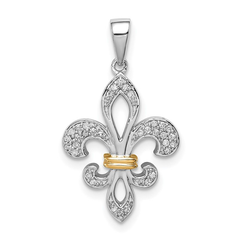 Quality Gold Sterling Silver Rhodium & 14K Two Tone Fleur De Lis Pendant