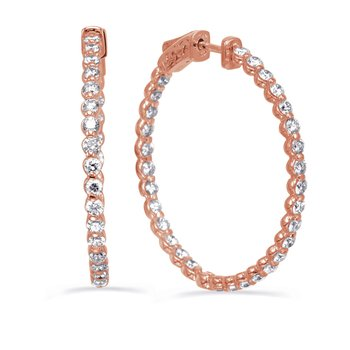 Rose Gold  Share Prong Earring 1.5 inch