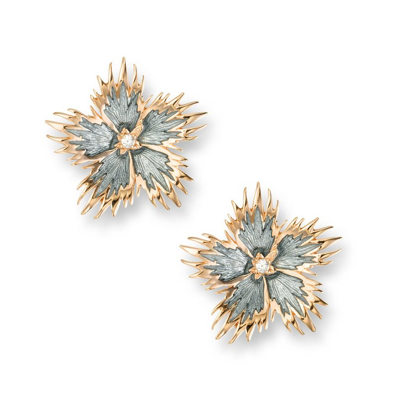 Nicole Barr Designs Gray Rock Flower Stud Earrings.Rose Gold Plated Sterling Silver-White Sapphires