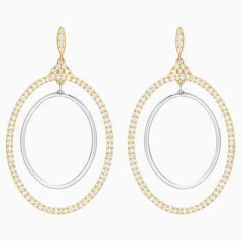 Gilberte Hoop Pierced Earrings, White, Mixed Plating