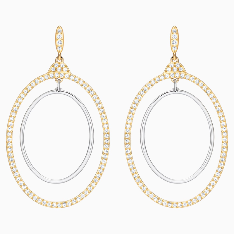Swarovski Gilberte Hoop Pierced Earrings, White, Mixed Plating