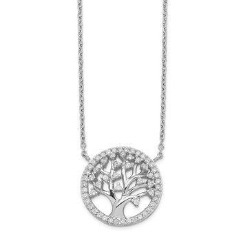 Cheryl M Sterling Silver Rhodium Plated CZ Tree Of Life 18in Necklace