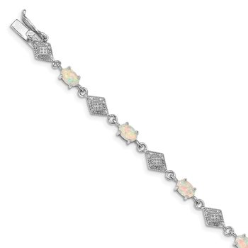 Sterling Silver Rhodium-plated White Created Opal and CZ Bracelet