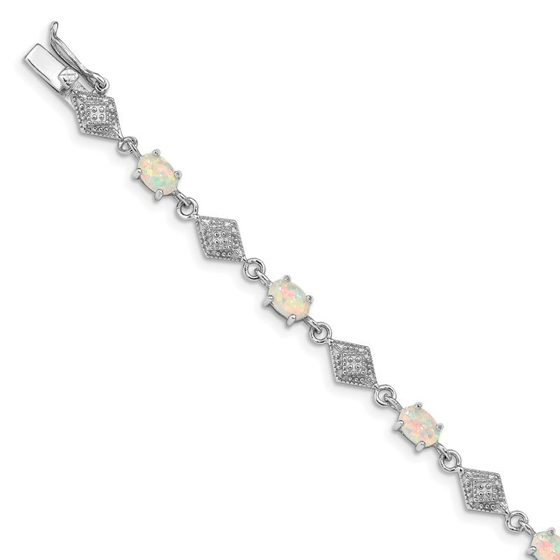 Quality Gold Sterling Silver Rhodium-plated White Created Opal and CZ Bracelet