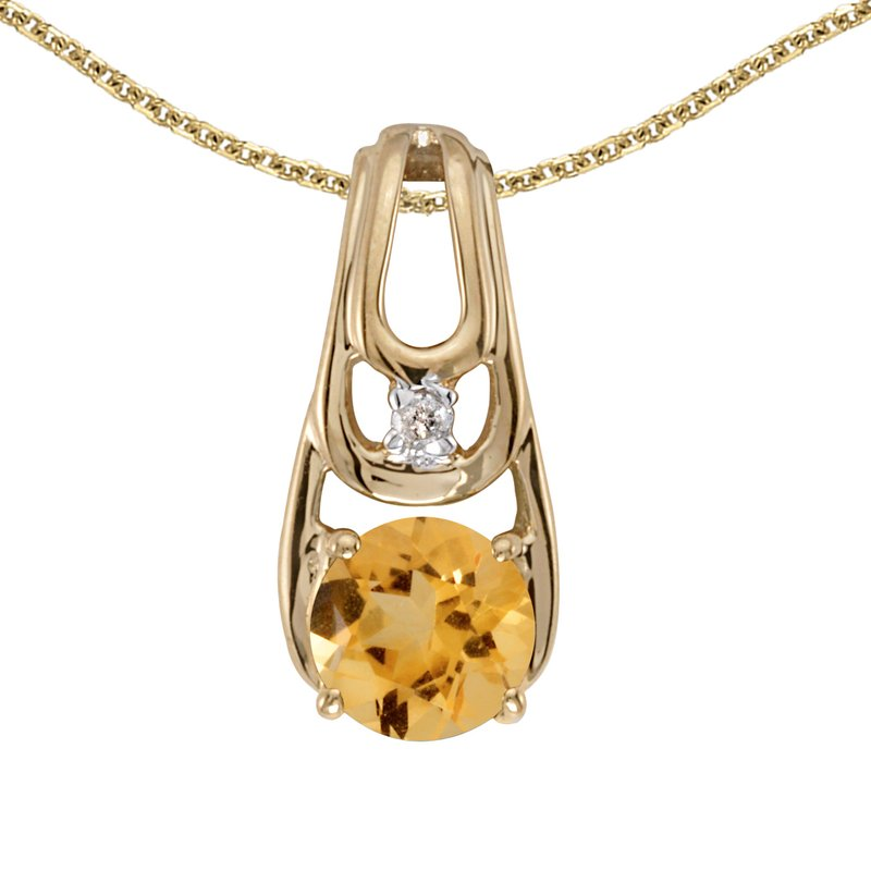 Color Merchants 10k Yellow Gold Round Citrine And Diamond Pendant