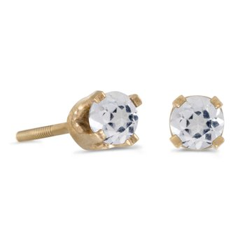 3 mm Petite Round White Topaz Screw-back Stud Earrings in 14k Yellow Gold