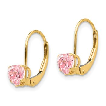 14k Madi K Pink CZ Heart Leverback Earrings
