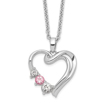 Sterling Silver Survivor Clear/Pink Swarovski Topaz Heart of Healing Neckla