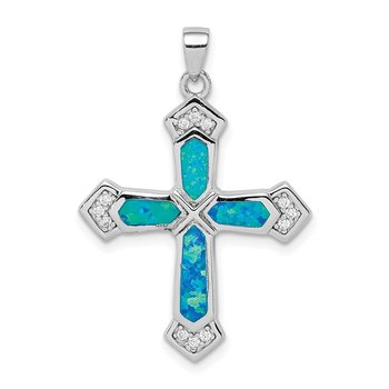 Sterling Silver Created Opal Cross CZ Pendant