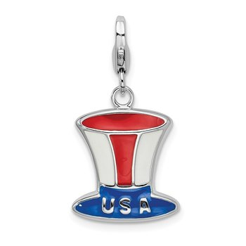 Sterling Silver Rhodium-plated w/Lobster Clasp Enameled USA Hat Charm