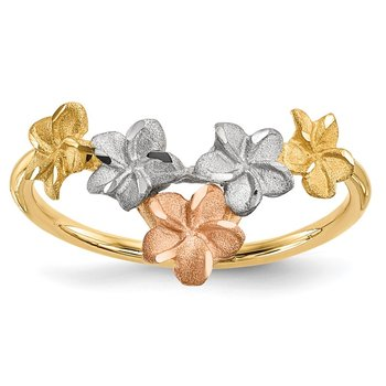 14k Two-tone White Rhodium Polished/Satin Flowers V-shaped Ring