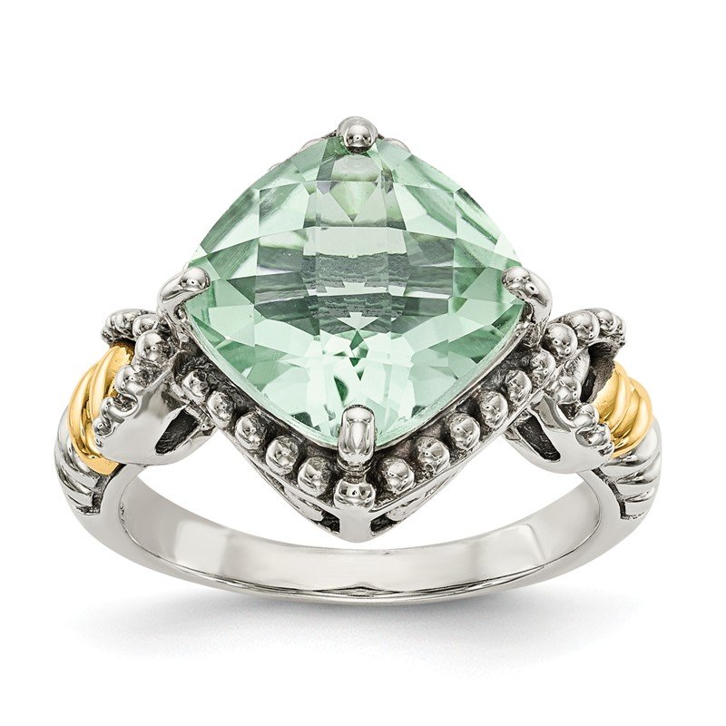 Shey Couture Sterling Silver w/14ky Green Quartz Cushion Ring