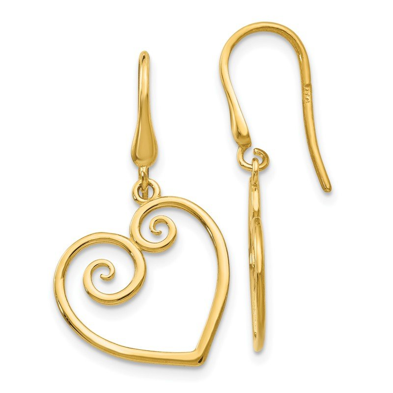 Quality Gold 14K Yellow Gold Heart Dangle Shepherd Hook Earrings