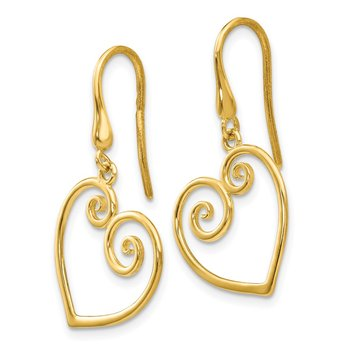 14K Yellow Gold Heart Dangle Shepherd Hook Earrings