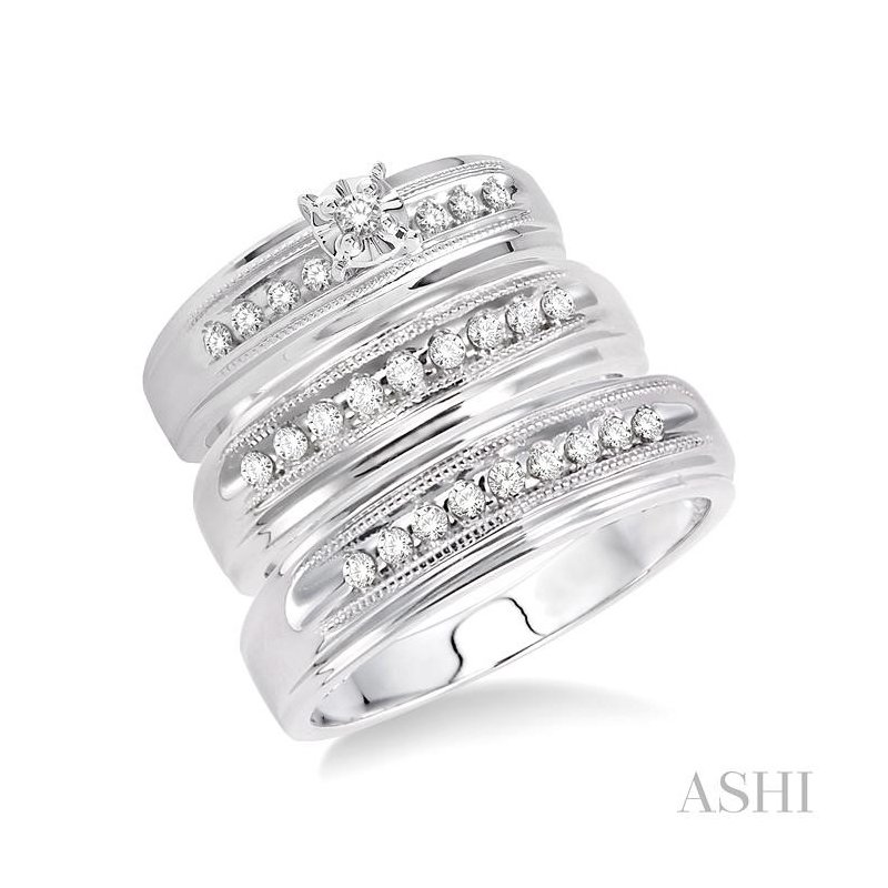 ASHI his and her trio diamond rings set