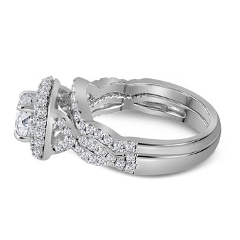 14kt White Gold Womens Round Diamond Halo Bridal Wedding Engagement Ring Band Set 1-7/8 Cttw