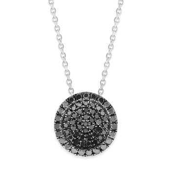 Black Diamond Concave Round Disc Necklace in 14K White Gold and Black Rhodium with 62 Diamonds Weighing .30ct tw.