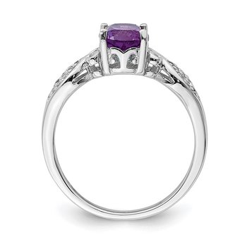 Sterling Silver Rhod-plated Polished Amethyst and White CZ Ring