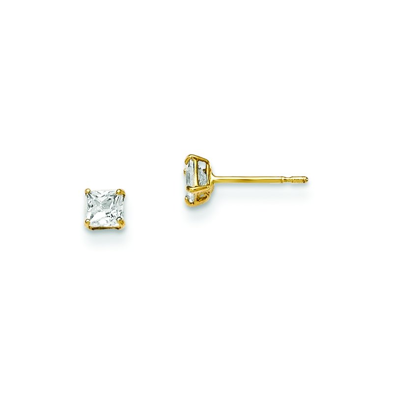 Quality Gold 14k Madi K 3mm Square CZ Basket Set Stud Earrings