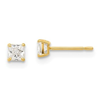 14k Madi K 3mm Square CZ Basket Set Stud Earrings
