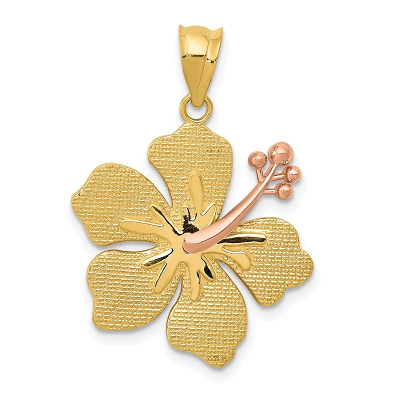 Quality Gold 14k Two-tone Yellow/Rose Hibiscus Charm