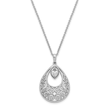 Sterling Silver CZ Without You 18in. Necklace