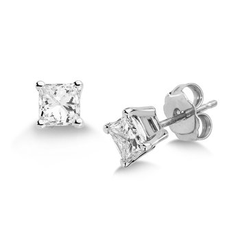 Four Prong Princess cut Diamond Studs in 14k White Gold Screw-back posts (3/4ct. tw.)