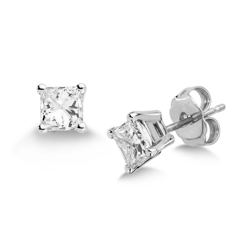 SDC Creations Four Prong Princess cut Diamond Studs in 14k White Gold Screw-back posts (3/4ct. tw.)