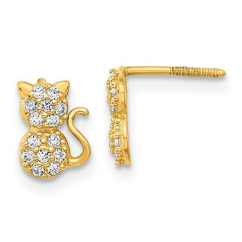 14k Madi K Polished CZ Sitting Cat Screwback Post Earrings