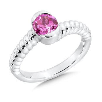 Sterling Silver Created Pink Sapphire Colore Of Life Stack Ring