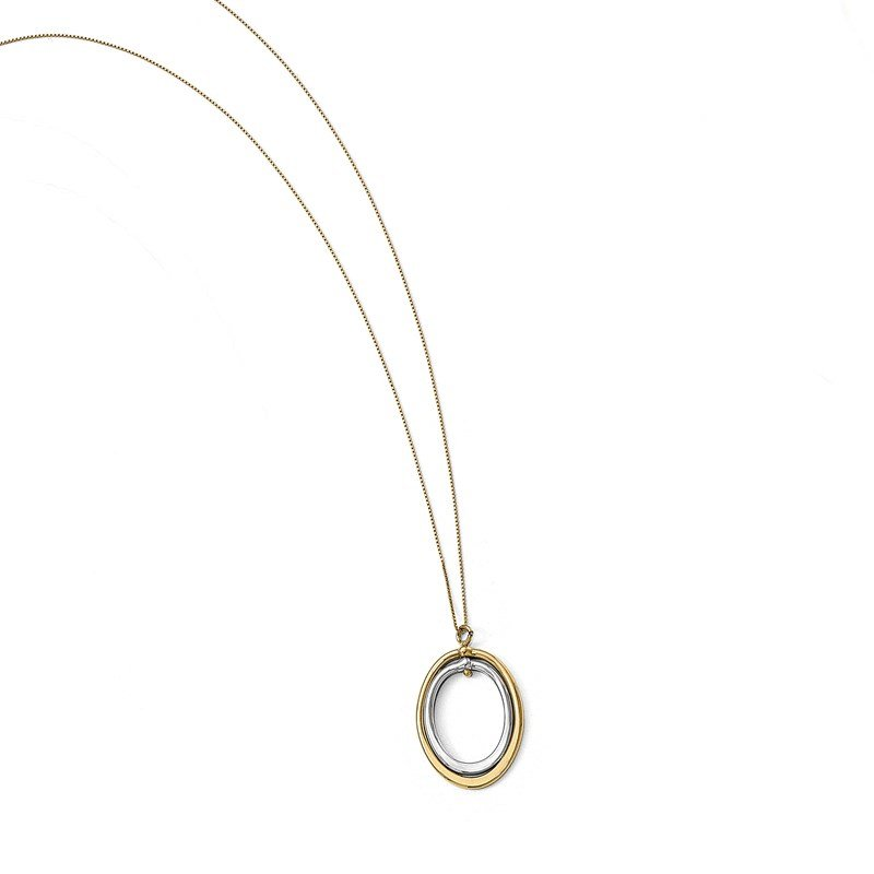 Leslie's Leslie's 10K Two-tone Polished Oval Necklace