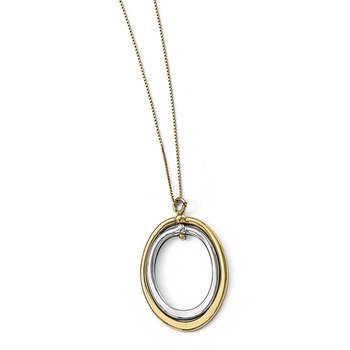 Leslie's 10K Two-tone Polished Oval Necklace