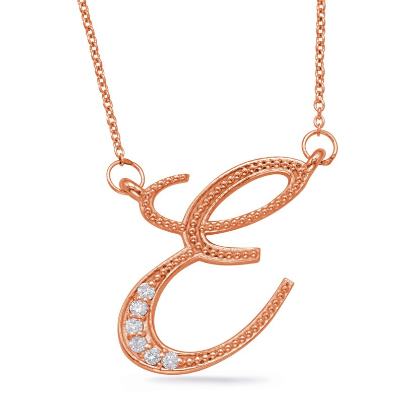 S. Kashi  & Sons Rose Gold Diamond Initial B Pendant