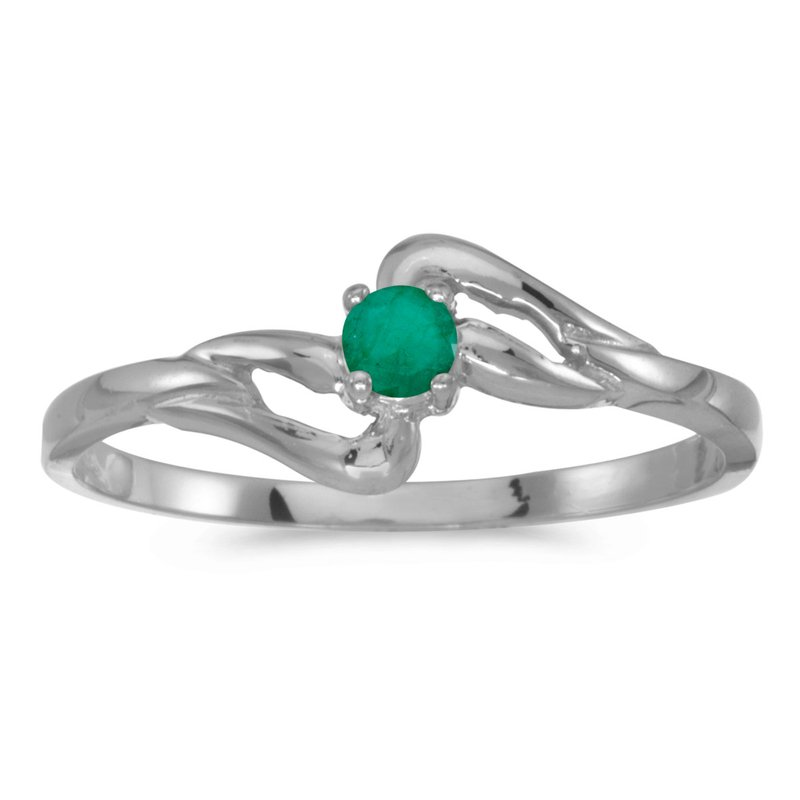 Color Merchants 10k White Gold Round Emerald Ring