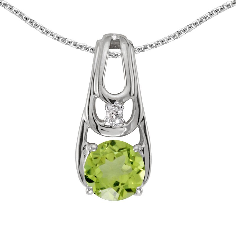 Color Merchants 10k White Gold Round Peridot And Diamond Pendant
