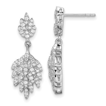 Sterling Silver Rhodium-plated CZ Leaf Dangle Post Earrings
