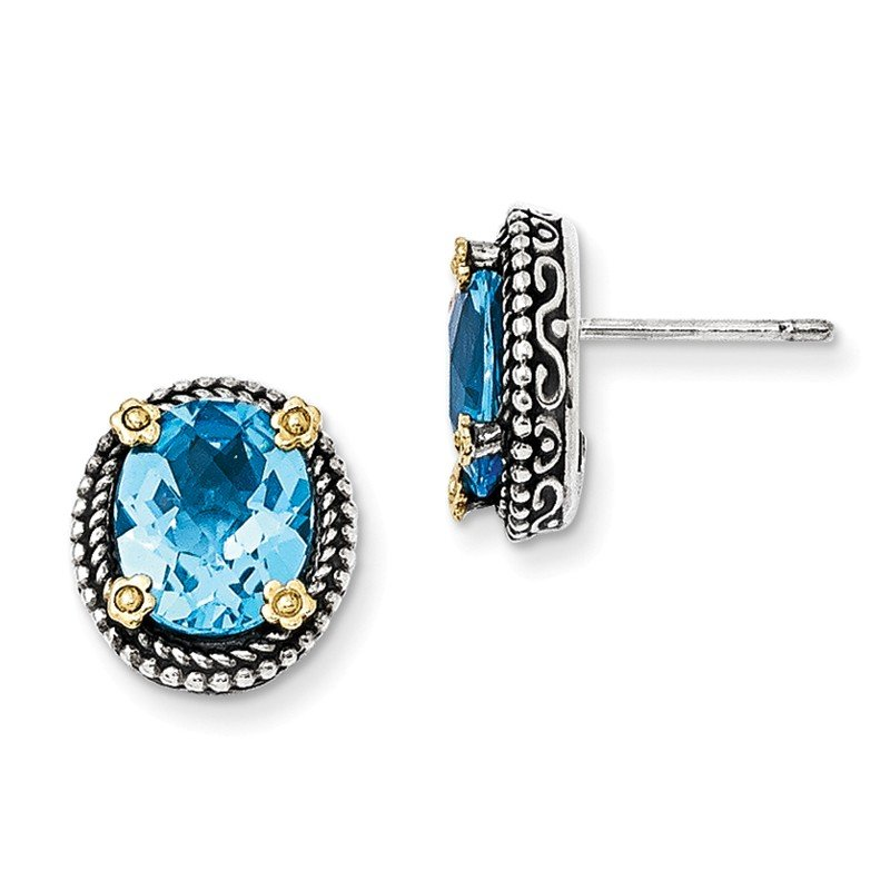 Shey Couture Sterling Silver w/14k Swiss Blue Topaz Earrings