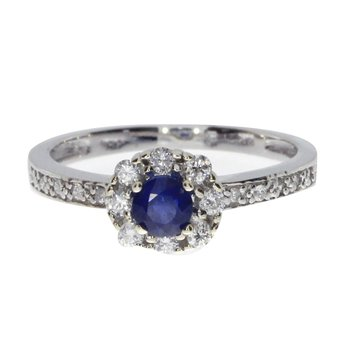 14k White Gold Sapphire and .21 ct Diamond Swirl Ring